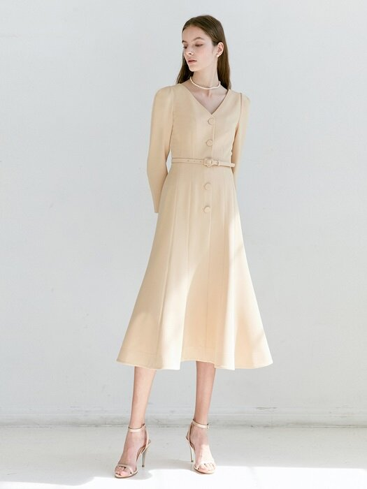 HAILEY V-neck button down flared dress (Apricot pink)