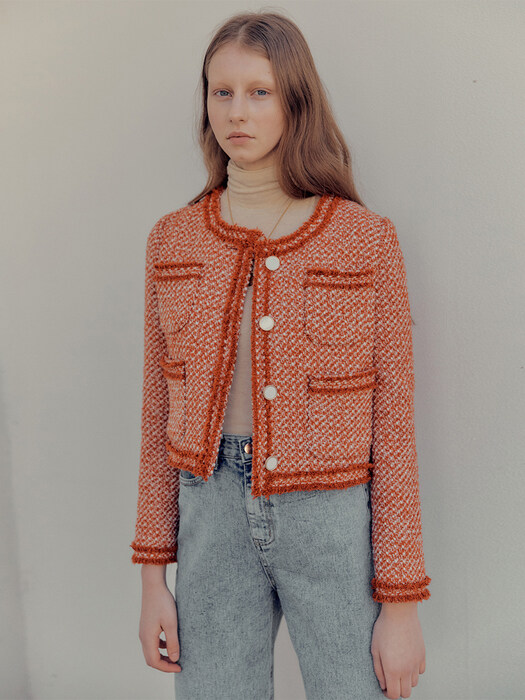 Blanc crop tweed jacket_Orange