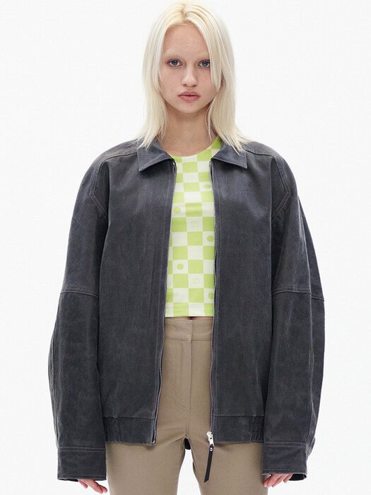 PAPER LIKE BOMBER JACKET, CHARCOAL