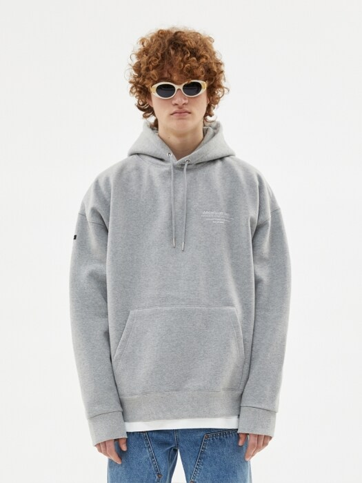 UNISEX FULL NAME LOGO EMBROIDERY HOODIE atb381u(GREY)