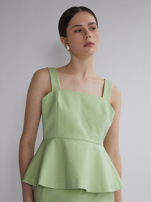 flared sleeveless top_lime