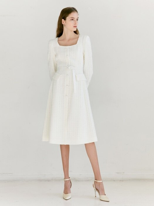 TRISHA Square neck Single button A-line Dress (White Tweed)