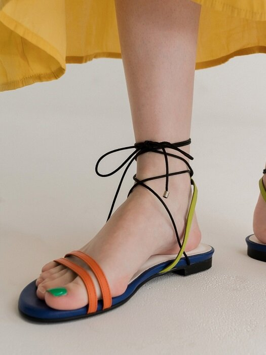 Petal capture gladiator sandal_Orange+Lime+Blue