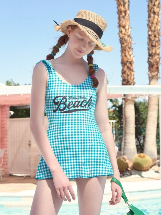 (OP-18371)CHECKED ONEPIECE SWIMSUIT MINT