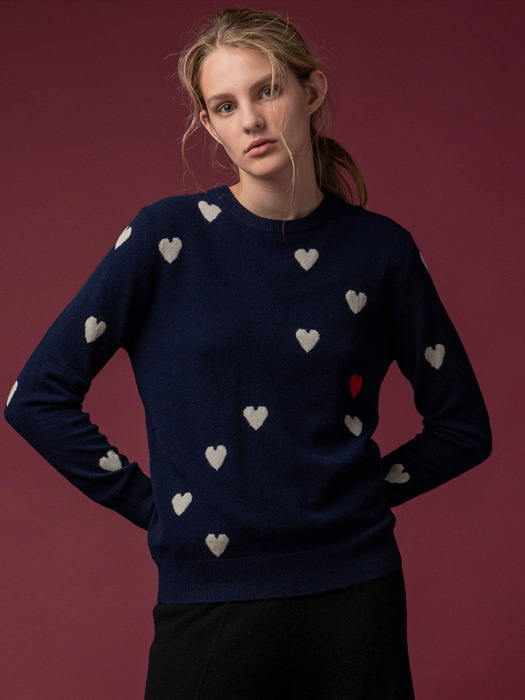 [FW19]Heart Jacquard Crew Neck (4color)