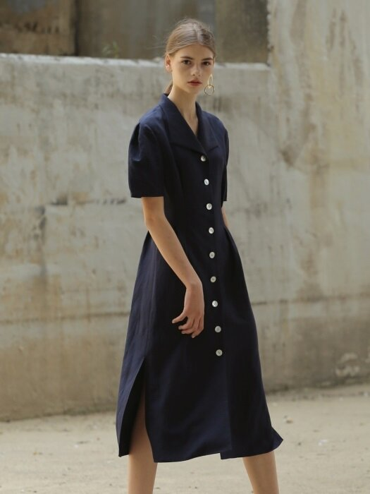 18RESORT LINEN SLANT COLLAR DRESS_3COLOR