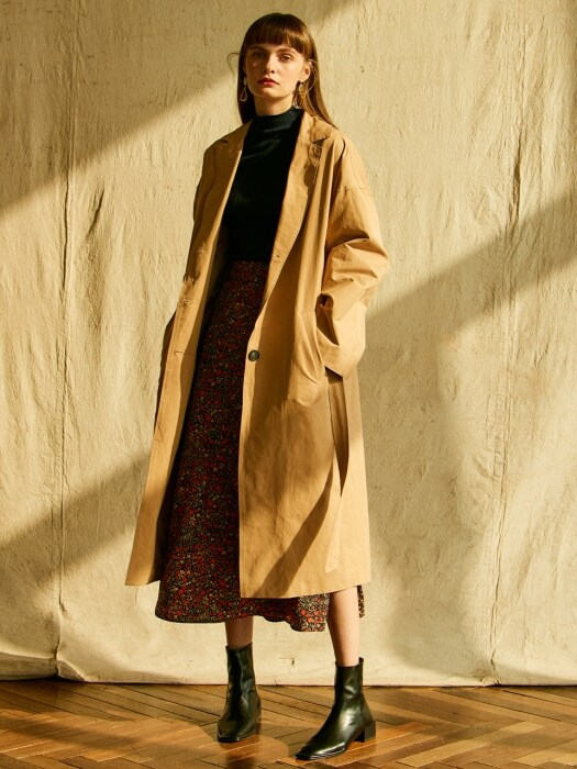 J328 simple line trench coat (beige)