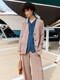 [Easy] Summer No-Collar Belted Blazer + Wide-leg Turn-up Trousers SET (4colors)