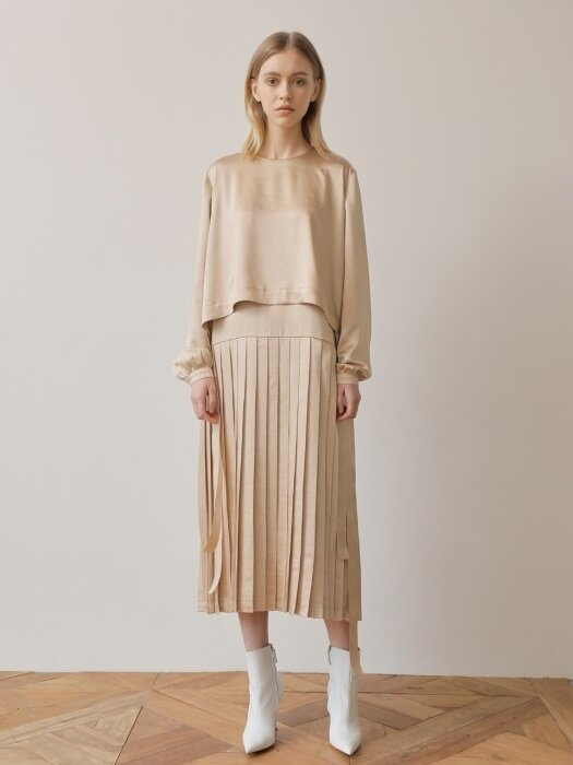 18FW PLEATS LONG DRESS /BEIGE