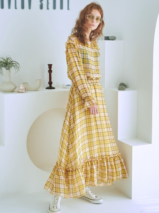 YELLOW CHECK DRESS