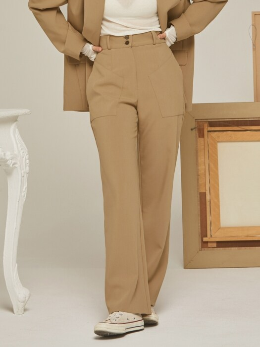 SET-UP POCKET SLACKS BEIGE