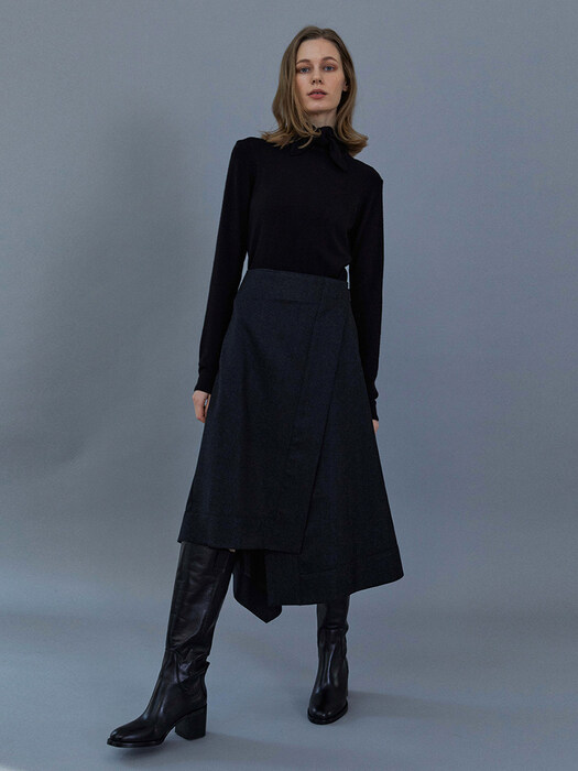 Belted Wrap skirt (Charcoal)