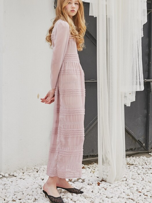 See-Through Lace Long Dress_Pink