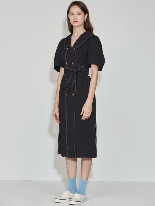 Double Button Belted Dress [Black] JSDR0B908BK