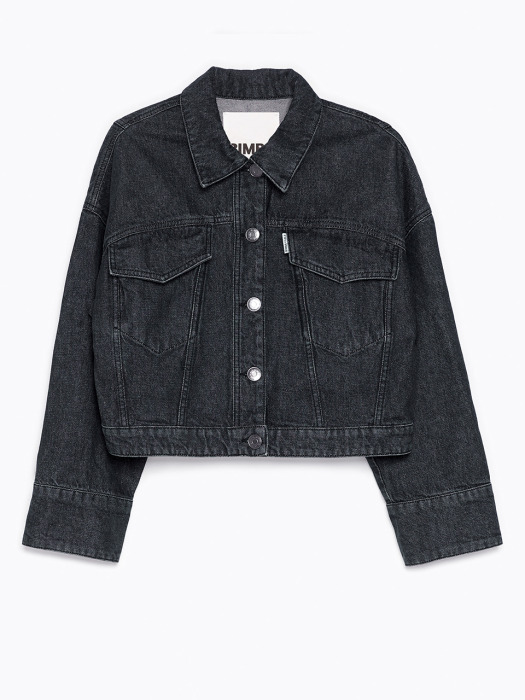 Black boxy denim jacket_B215AWJ002BK