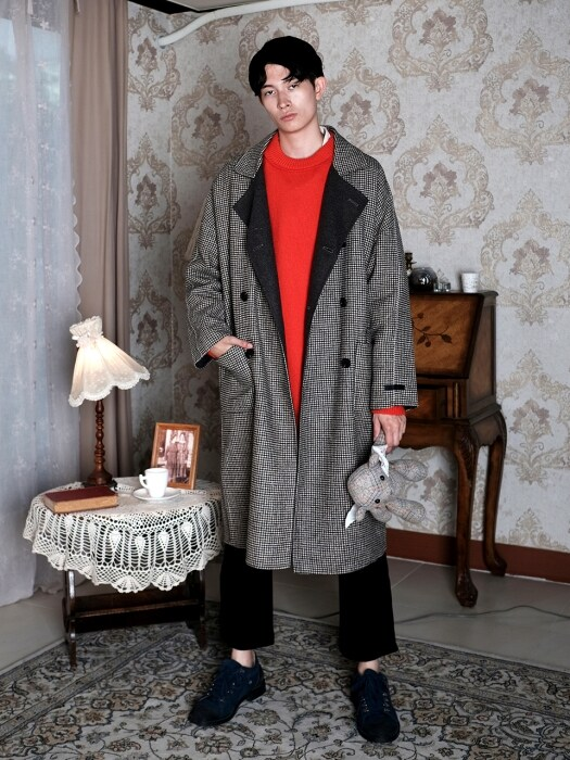 Bliss Check Hand-Made Double Long Coat_CC