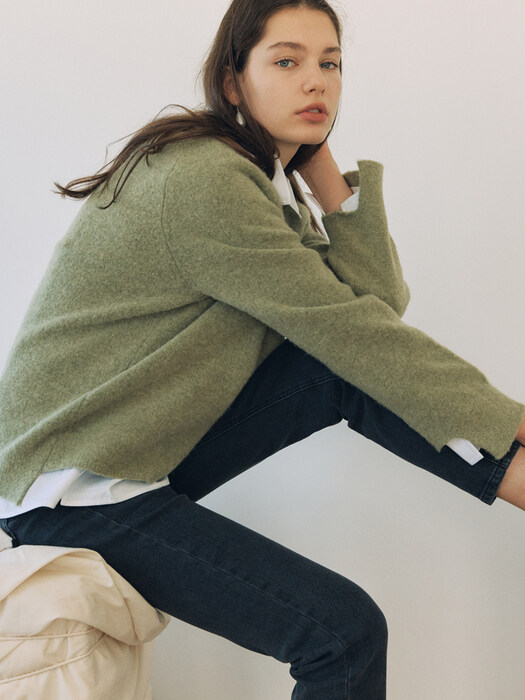 [FRONTROW x RePLAIN] Loose-fit Alpaca Sweater + Mid-rise Straight Jeans_Grey SET
