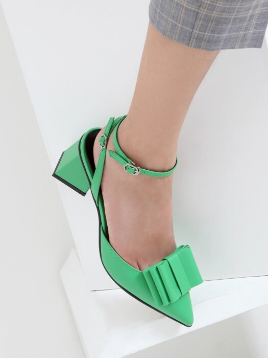 [3Way Shoes] Three Layer Ribbon Sling Back Neon Green_R0036