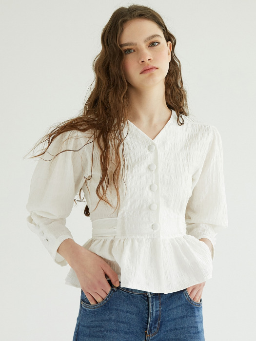 RIBBON TIED UP BLOUSE_WH