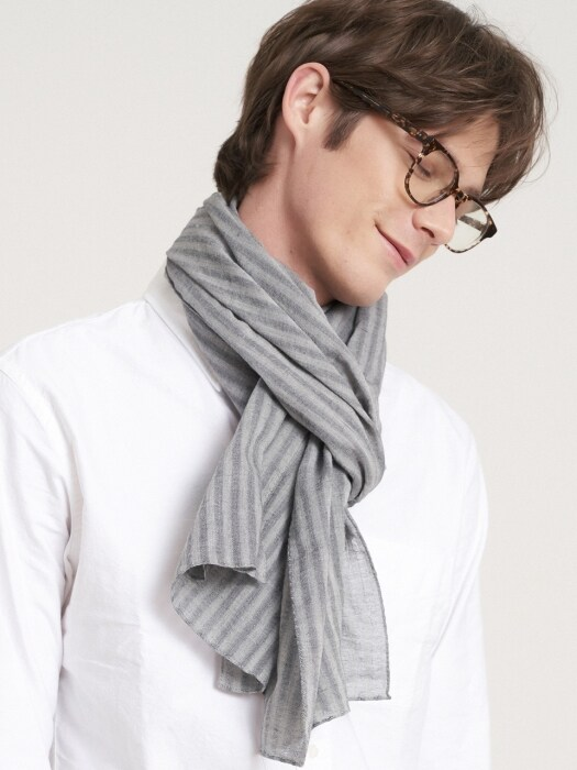 Solid stripe scarf 2color