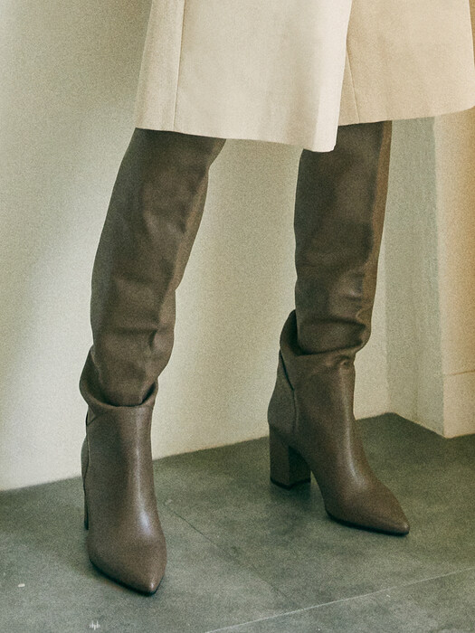 [EXCLUSIVE] LEATHER KNEEHIGH BOOTS_TAUPE