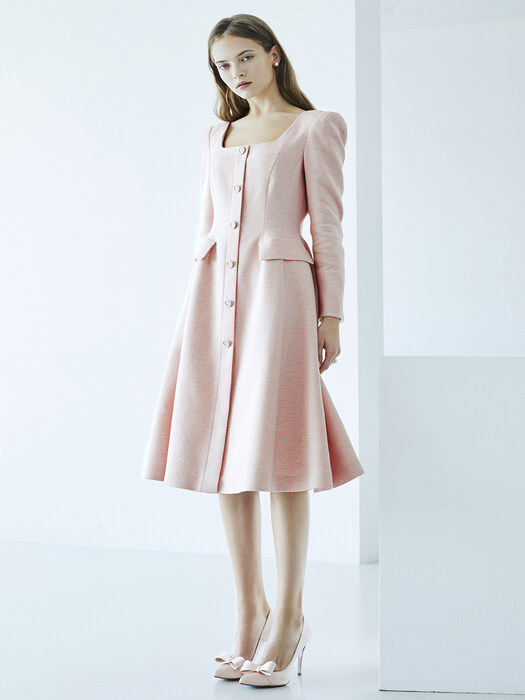 [EXCLUSIVE] TRISHA Square neck Single button A-ling Dress (Pink Tweed)