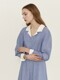 SALYEONI Voluminous sleeve dress (Blue stripe)