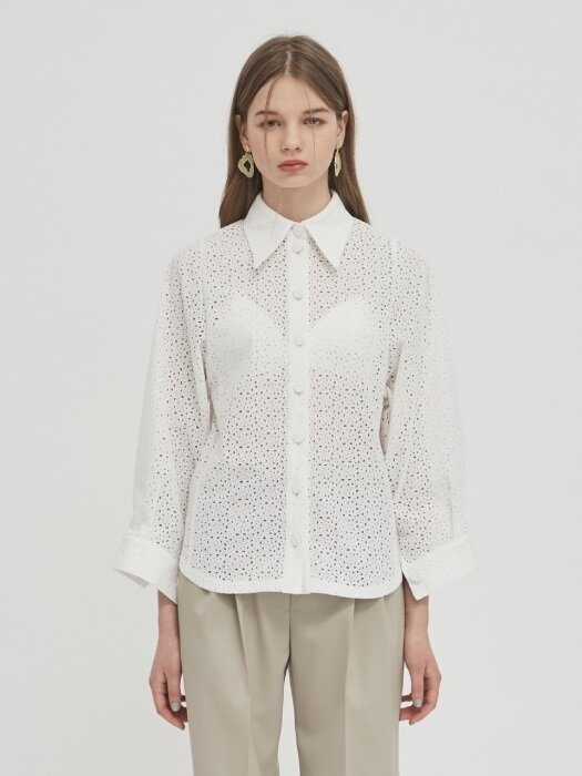 [리퍼브] 18SS POINT-COLLAR COTTON-LACE SHIRT - WHITE