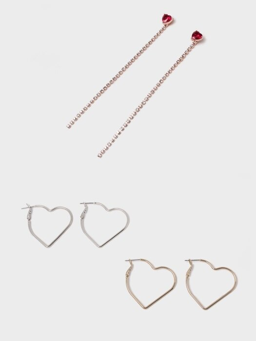 [2SET] HEART EARRING SET