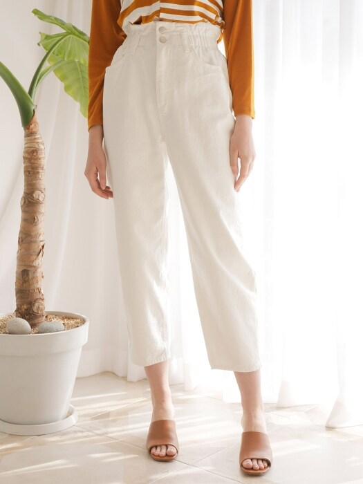HIGHWAIST BANDING DENIM PANTS_WHITE