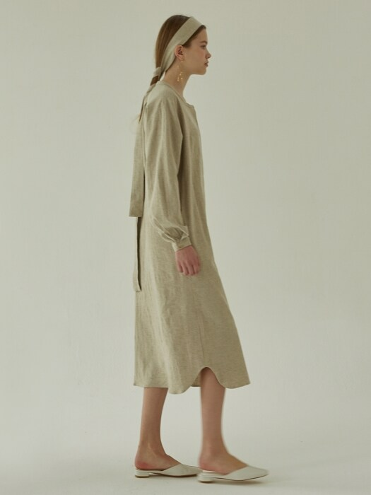 LINEN ROBE DRESS - BEIGE