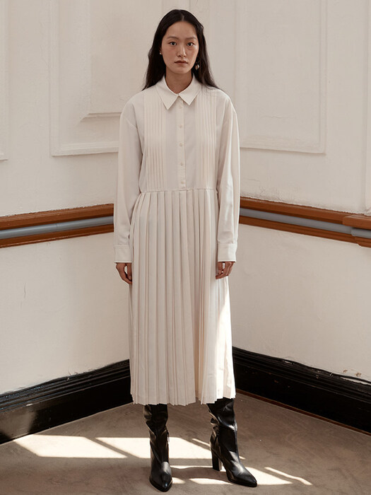 [EXCLUSIVE] PLEATED DRESS - IVORY