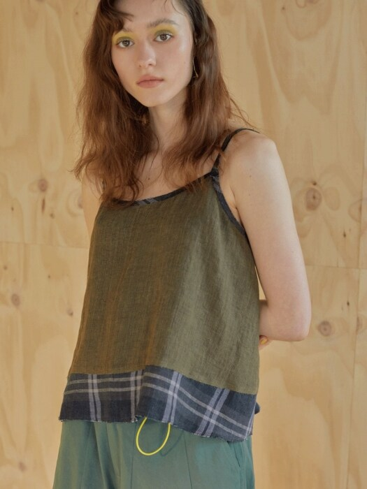 린넨 19ss - Natural slip blouse - khaki