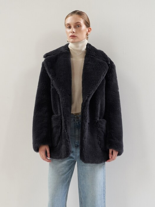 NTW WOOL SHEARING HALF COAT 2COLOR