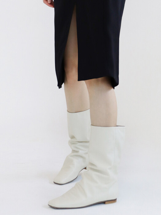 point_wrinkle short boots_ivory_20510