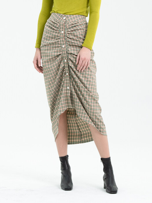 BUTTON POINT SHIRRING CHECK SKIRT - GREEN
