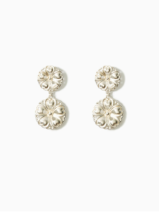 FRANCOISE FLORAL SILVER DOUBLE EARRINGS