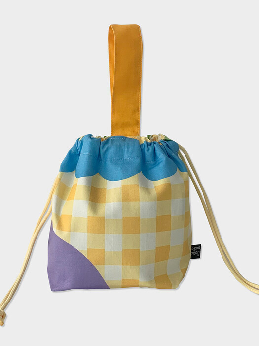 Yellow check string bag