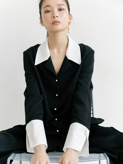 19SS NOTCHED COLLAR BLOUSE /BLACK
