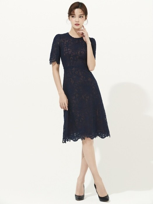 NAVY A-LINE CHROCHET LACE DRESS