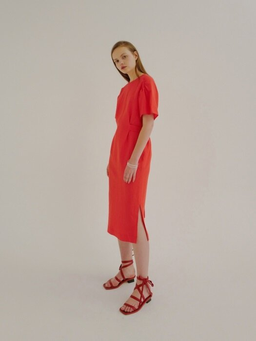 18ss very linen dress red