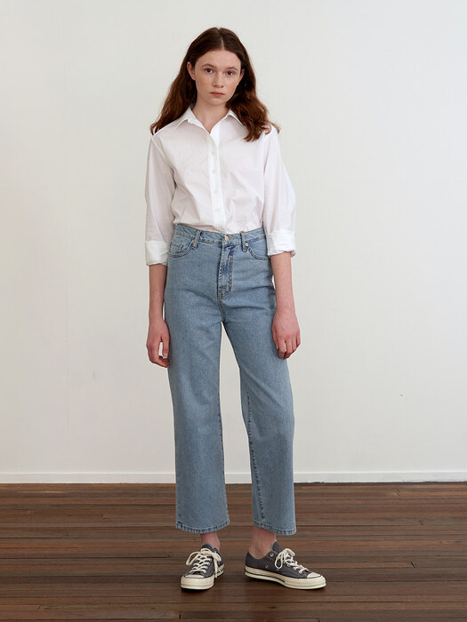 WIDE DENIM PANTS - BLUE