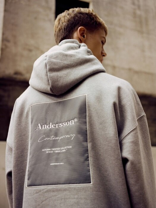 UNISEX ANDERSSON SIGNATURE PATCH HOODIE atb230u(Gray)