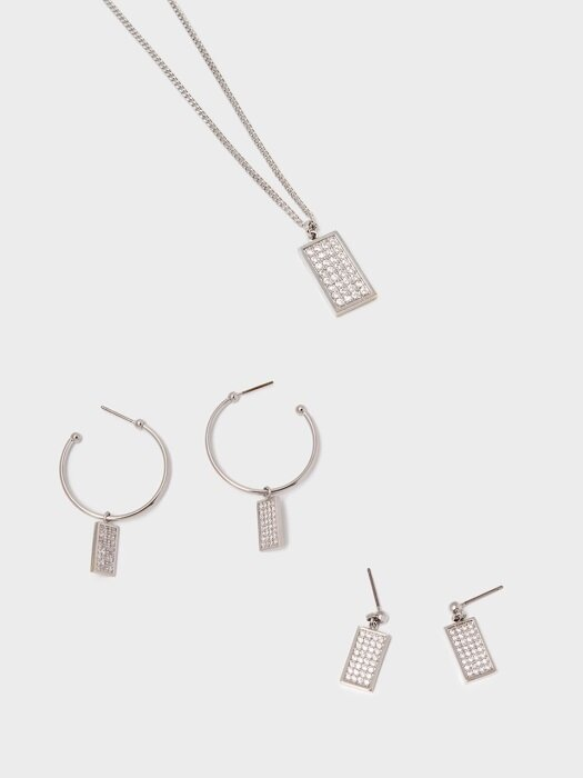 [2SET] REC PAVE PENDANT SET