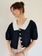 monts 1099 puff collar cardigan (navy)