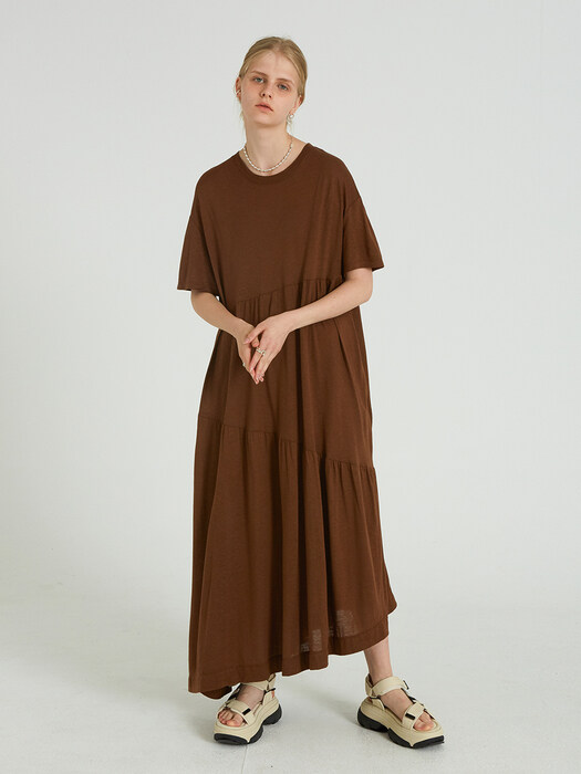 UNBALANCE LINEN LONG OPS_BROWN