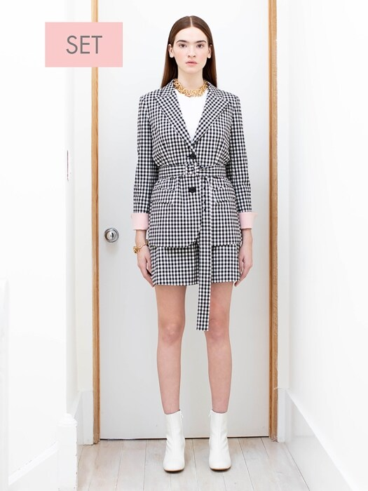 STOCKHOLM two button blazer (Black gingham check&Baby pink) & PARIS short skirt (Black gingham check) SET