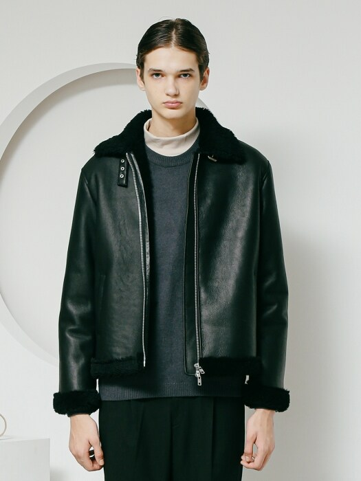 Classic B3 real mouton jacket black