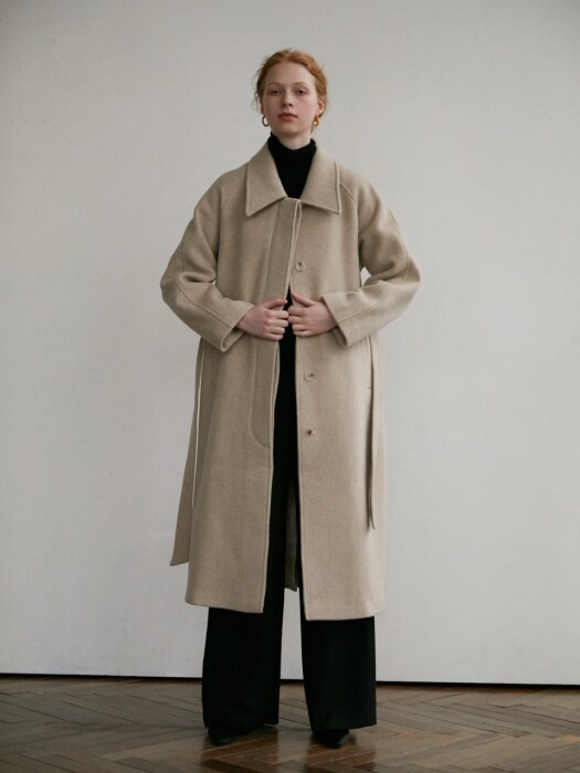 Brush wool coat - oatmeal