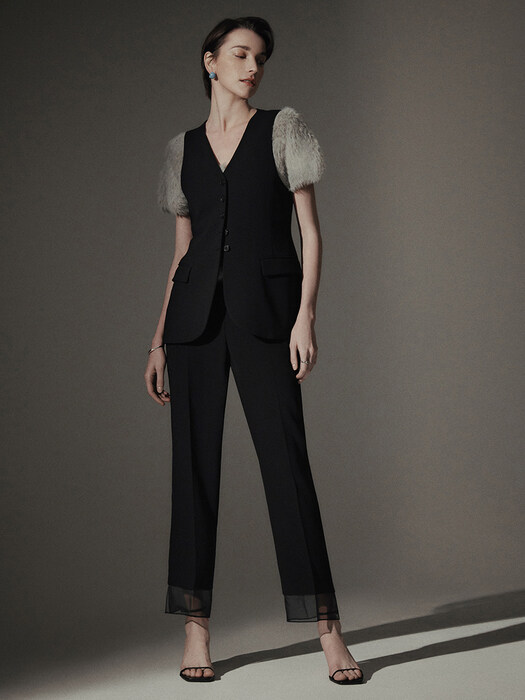 [Drama Signature] Sheer Panel Straight Trousers